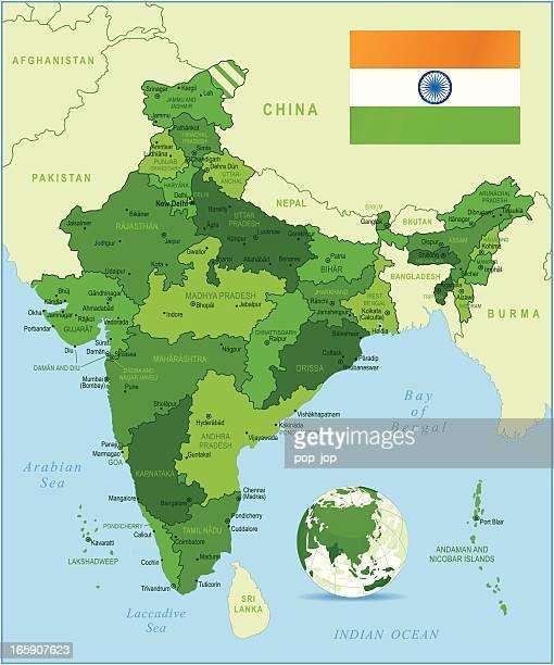illustrazioni stock, clip art, cartoni animati e icone di tendenza di india-altamente dettagliata carta verde - pakistan