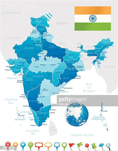 india - highly detailed map - india stock illustrations, clip art, cartoons, & icons