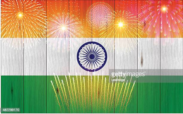 India holiday background[Board flag and Fireworks]