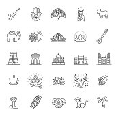 India icons set. Indian attractions, line design. Tourism in India, isolated vector illustration. Traditional symbols.