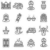 India icons set.
