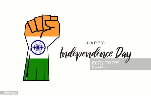 india independence day card with fist as flag of india. vector illustration. - independence stock illustrations
