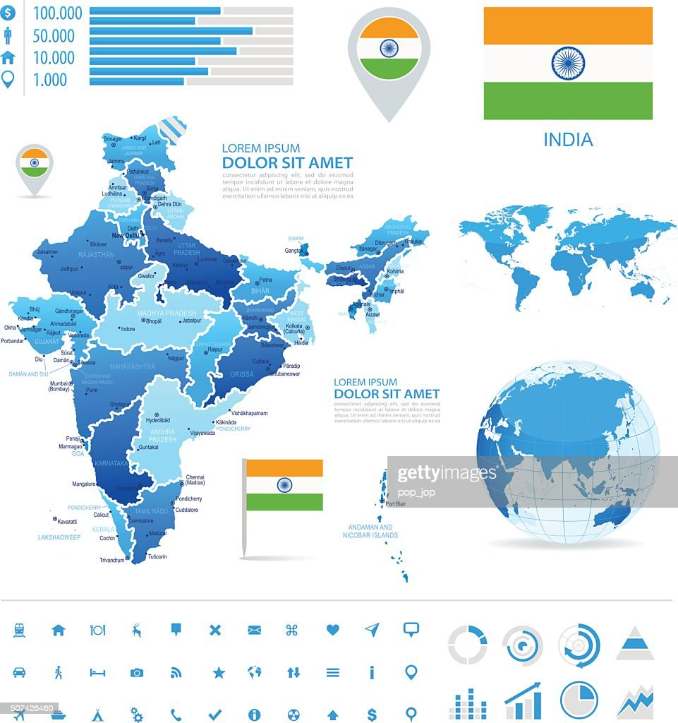 India - infographic map - Illustration