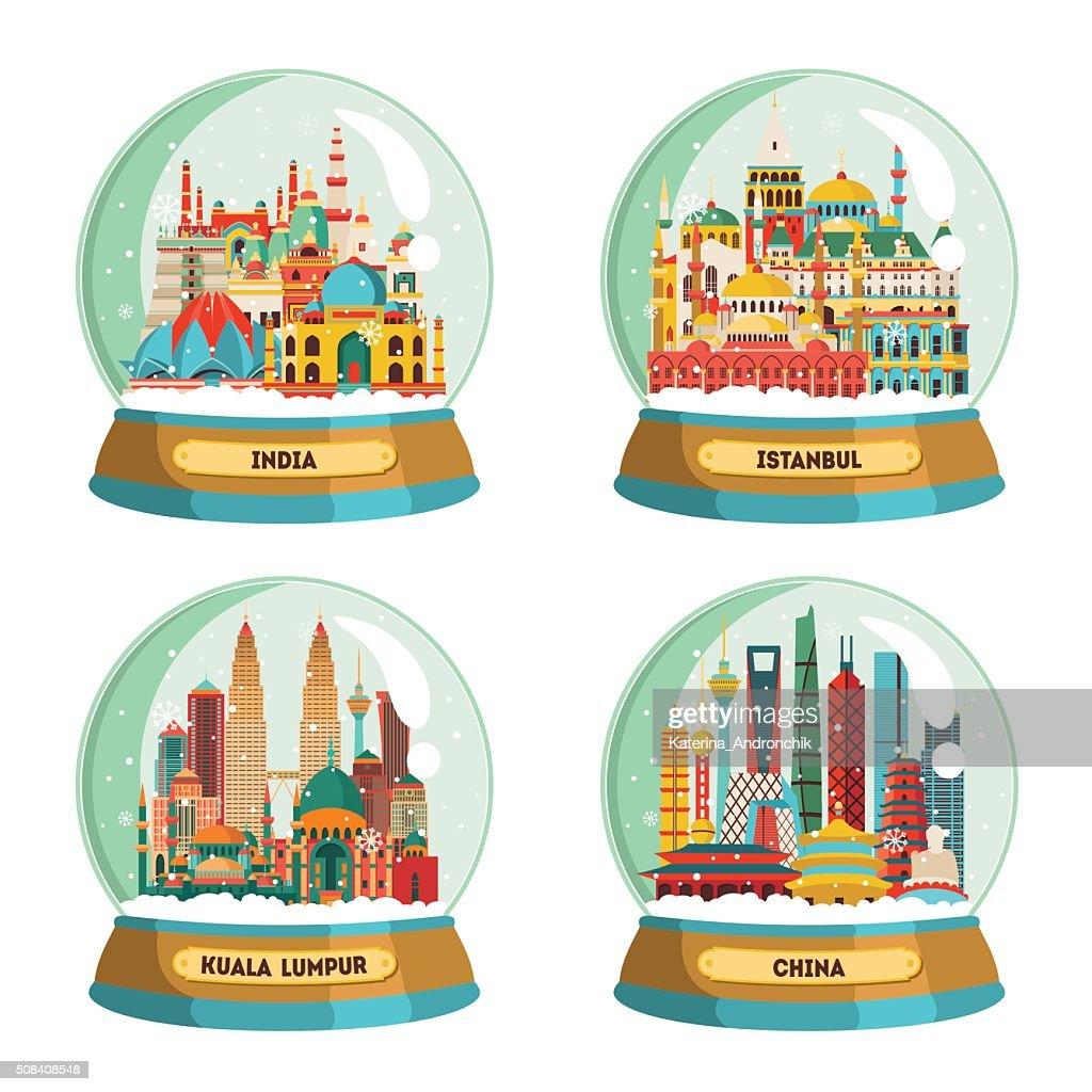 India, Istanbul, Kuala Lumpur, China. Vector illustration