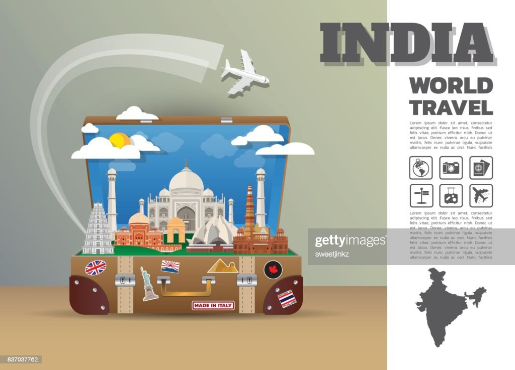 India Landmark Global Travel And Journey Infographic luggage.3D Design Vector Template.vector/illustration. can be used for your business, advertisement or artwork.