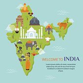 India landmark travel map vector illustration