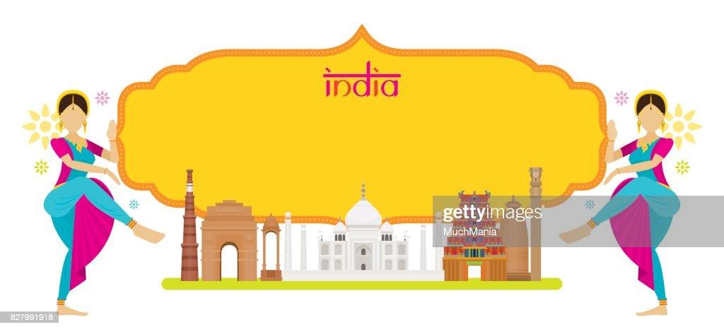 India Landmarks with Traditional Dancer, Frame