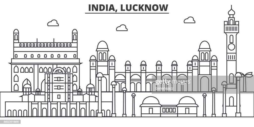 India, Lucknow architecture line skyline illustration. Linear vector cityscape with famous landmarks, city sights, design icons. Editable strokes