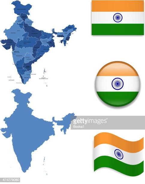 india map and flag collection - india stock illustrations