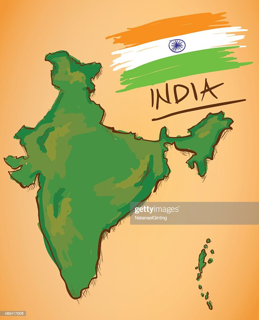 India Map and National Flag Vector