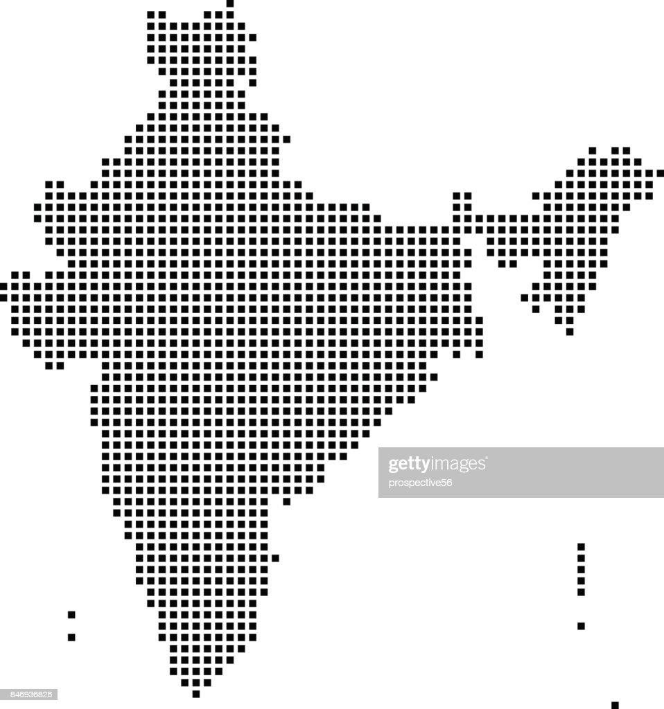 India Map Dots, Dotted India Map Vector Outline, Highly Detailed Pixelated India  Map In