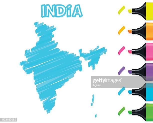 India map hand drawn on white background, blue highlighter