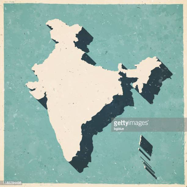 india map in retro vintage style - old textured paper - india stock illustrations
