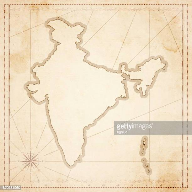 india map in retro vintage style - old textured paper - ancient stock illustrations
