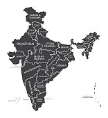India Map labelled black