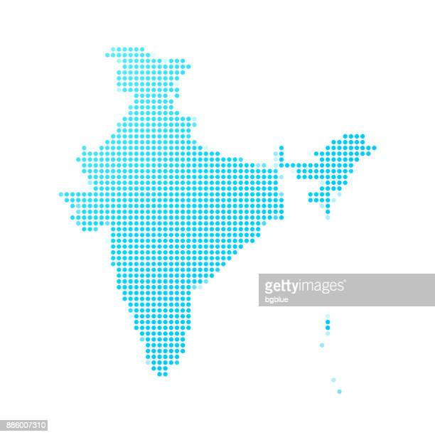 India map of blue dots on white background