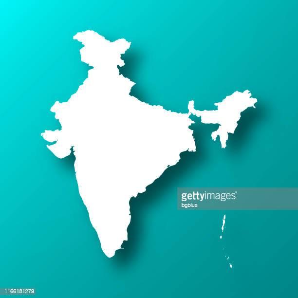 illustrazioni stock, clip art, cartoni animati e icone di tendenza di mappa dell'india su sfondo verde blu con ombra - india