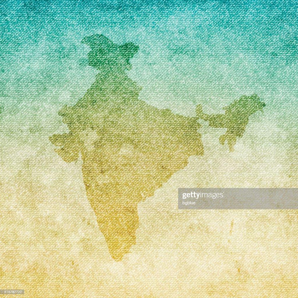 India Map on grunge Canvas Background