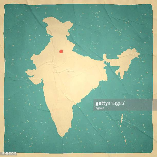 india map on old paper - vintage texture - india stock illustrations