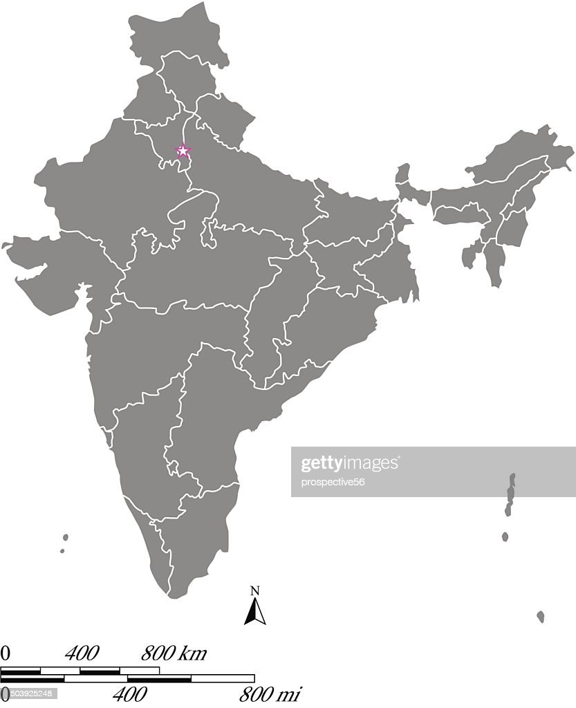 India map outline vector with scales of miles and kilometers