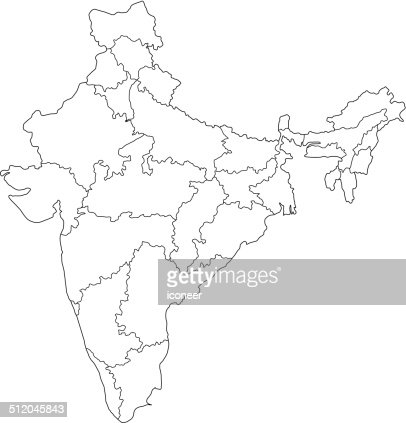 India Map On Dark Background With Grid Vector Art Getty Images - India map vector