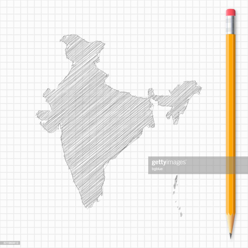 India map sketch with pencil on grid paper vector art