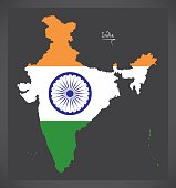 India map with Indian national flag illustration