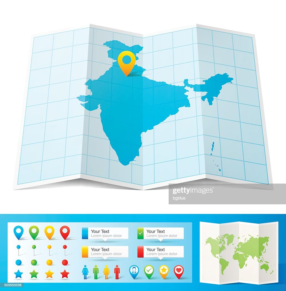 India Map with location pins isolated on white Background