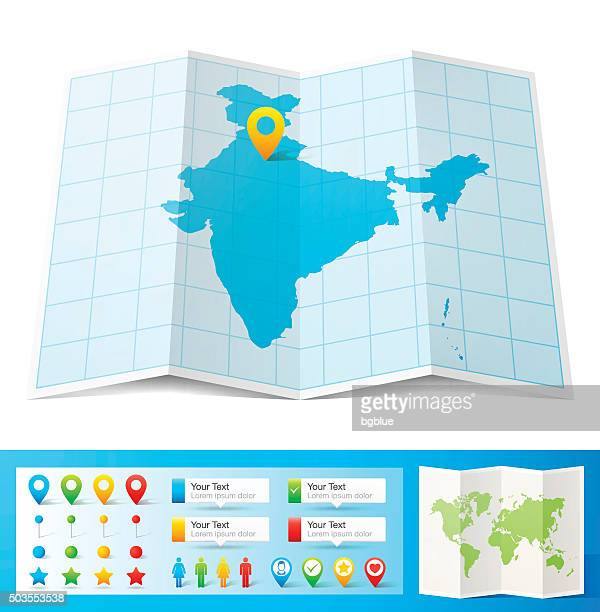 india map with location pins isolated on white background - india stock illustrations