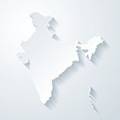 India map with paper cut effect on blank background