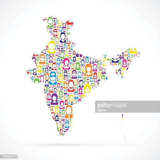 India Map with People