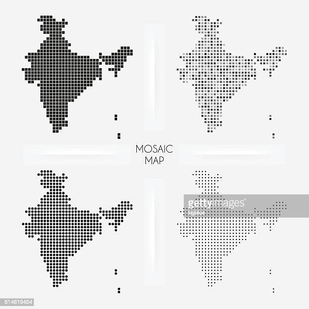 India maps - Mosaic squarred and dotted