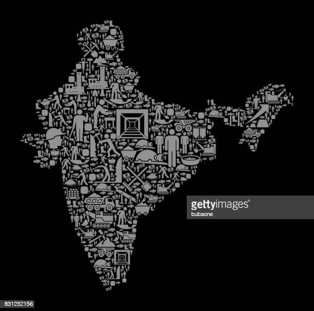 India Mining Industry Vector Graphic