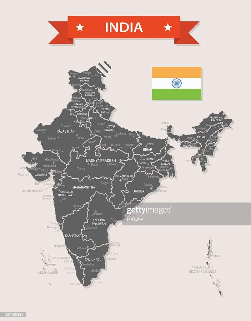 India - old-fashioned map - Illustration