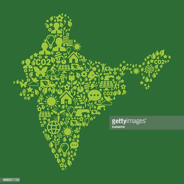 India On Green Environmental Conservation and Nature Icon Pattern