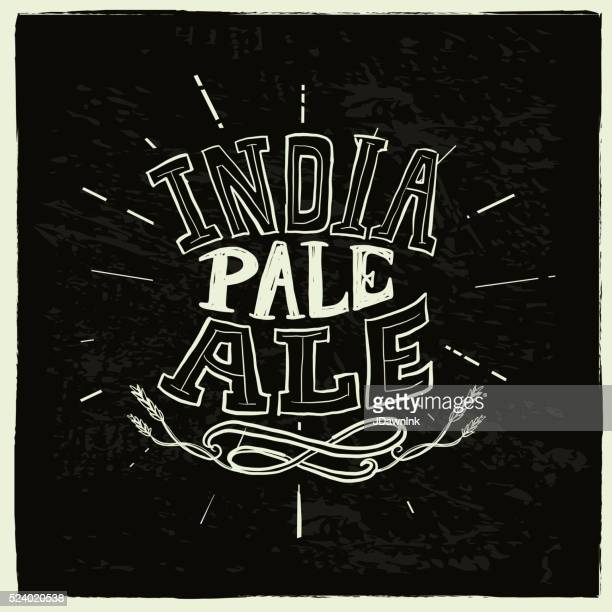 india pale ale beer label hand lettering design - india pale ale stock illustrations, clip art, cartoons, & icons