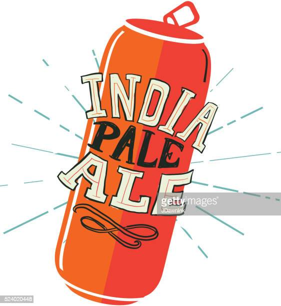 india pale ale tall can label hand lettering design - india pale ale stock illustrations, clip art, cartoons, & icons