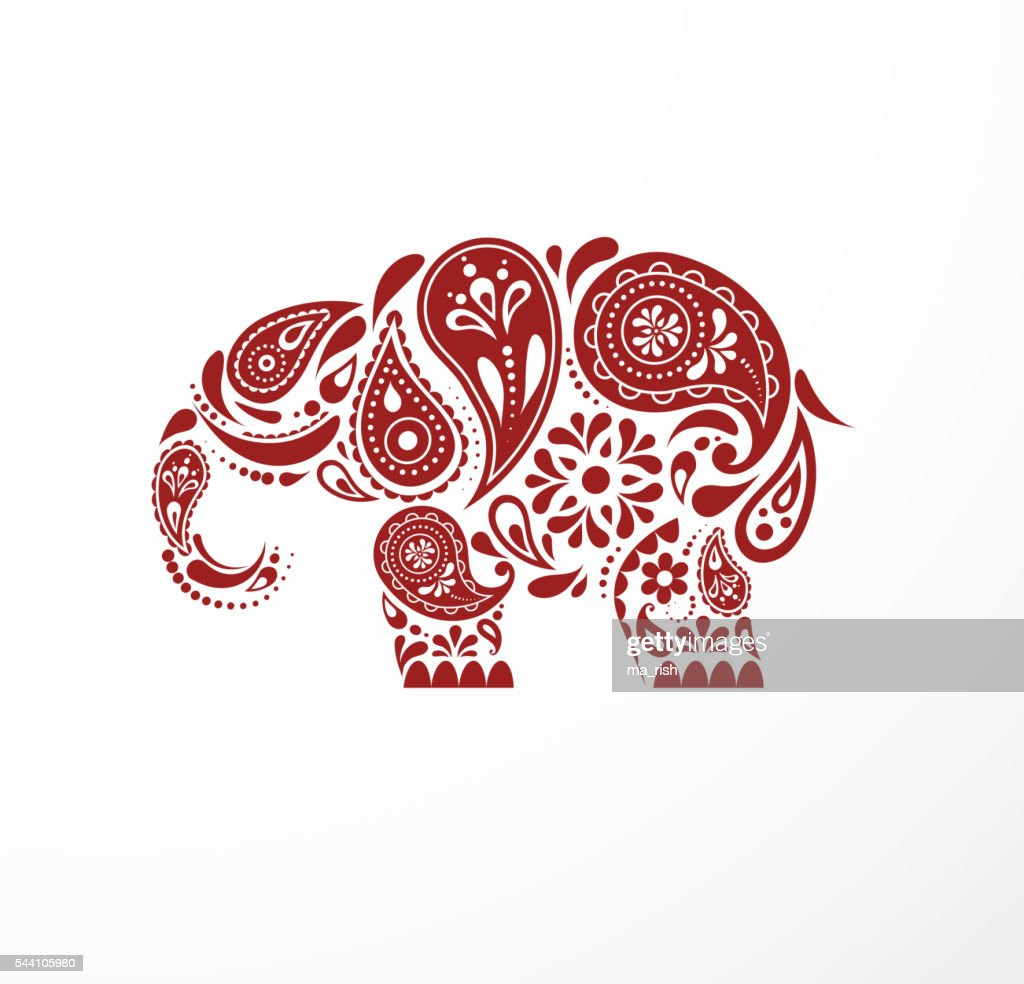 india parsley patterned elephant oriental indian icon and