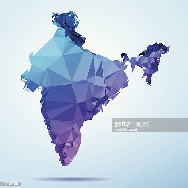 India Polygon Triangle Map Blue