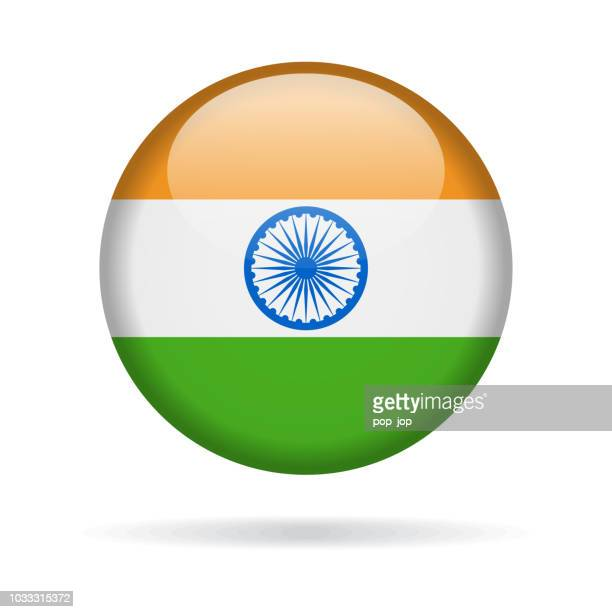 India - Round Flag Vector Glossy Icon