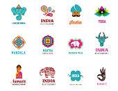 India - set of Indian icons. Ganesh, lotus, elephant