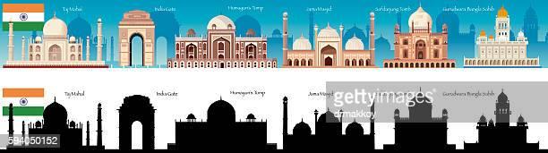 ilustrações, clipart, desenhos animados e ícones de india skyline - taj mahal
