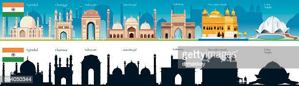 india skyline - india gate stock illustrations