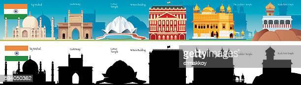india skyline - agra fort stock illustrations