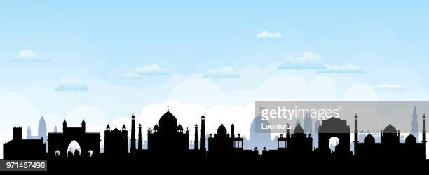 india skyline (all buildings are complete, detailed and moveable) - monument stock illustrations