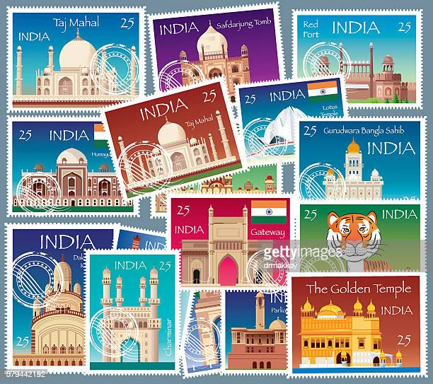 india stamps - indian elephant stock illustrations