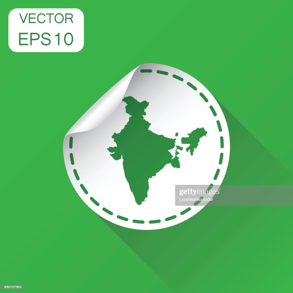 India sticker map icon business concept india label pictogram vector illustration on green background