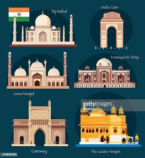 india symbols - delhi stock illustrations