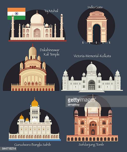 india symbols - india gate stock illustrations