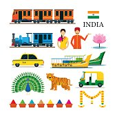 India Transportation and Animals Objects Icons Set